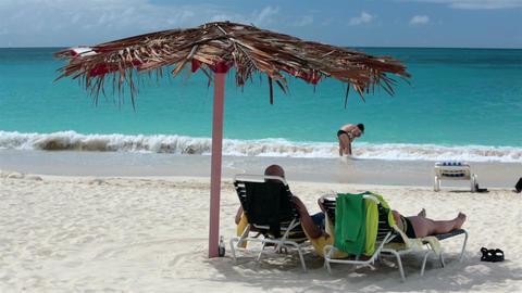 Family fun Antigua Island Caribbean beach surf HD 1214 Footage