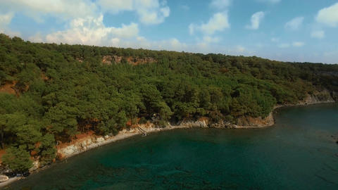 Aerial View of Tropical Coast with Forest and Bay Footage
