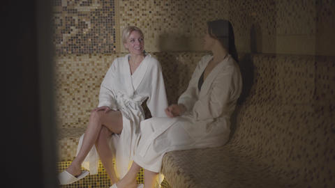 Positive young Caucasian women resting in spa and talking. Confident rich ladies Live Action