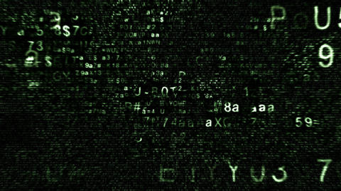 Abstract Chaotic Grunge Collage of green Hexadecimal Source Code on Black Background Animation