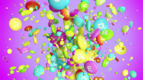 Vitamin pills blast in 4K Animation
