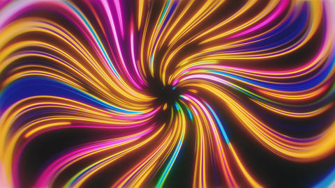 Swirling Glowing Colorful Neon Lines Tunnel Animation
