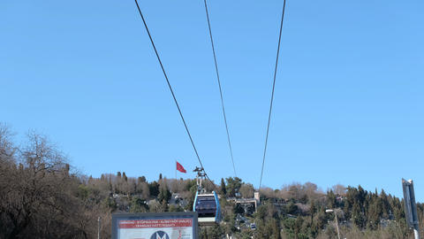 Teleferic cable car in Eyup, istanbul. Access to the famous Pierre Loti Hill is provided by cable Live Action