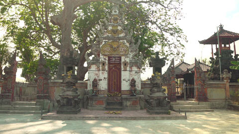 Cinematic footage of traditional Bali temple entrance Indonesia Nusa Lembongan Live Action