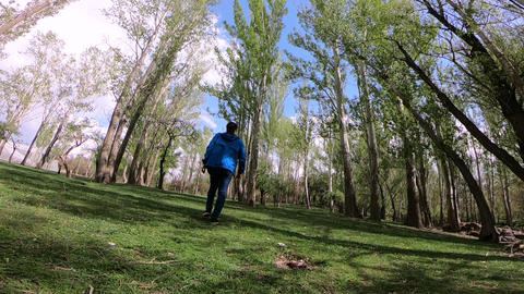 Walking man in the spring forest GIF