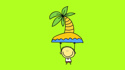 hand drawn happy little kid on a summer day playing with an island toy with a palm tree in the Animation