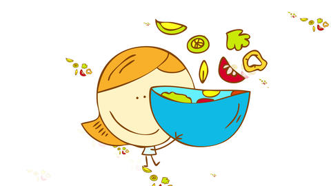girl with blue dress smiling while some vegetables float out of a bowl with a pattern of the same Animation