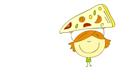 girl with big smile and a sweet tooth for pizza holding up a slice above her head forming with every Animation