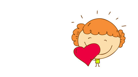 small girl wearing green dress and curly hair loving a perfectly shaped red heart with a big smile Animation
