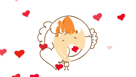 happy girl in love embracing a red heart implying she takes care of her loved ones and has a Animation