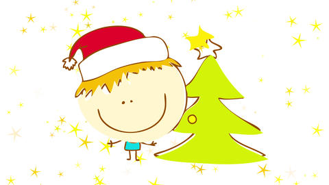dreamy scene of young cheerful kid wearing blue pajamas and red santa claus hat specting for Animation