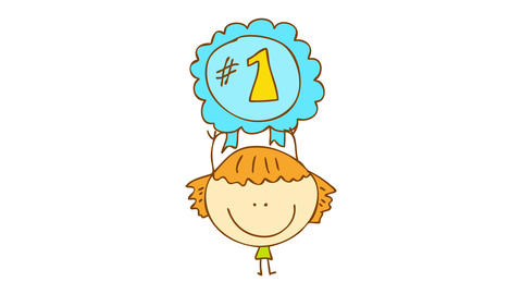 joyful young girl holding her blue number one badge with ribbons after winning the first place on a Animation