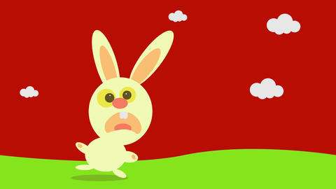 panicked bunny running like crazy on a green prairie from the industrialized food corporations that Animation