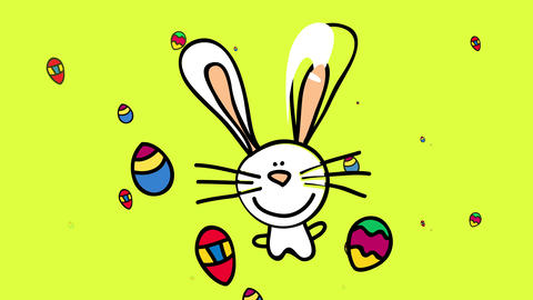 cute bunny with white fur and long ears with tiny paws and smiling in the middle of a rain of Animation