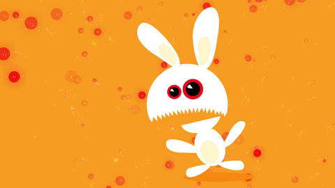 scary bunny looking like a monster with red eyes and opening its big toothy mouth with expression of Animation