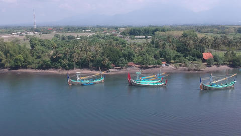 span over water visible shore Prancak Perancak west bali many traditional Live Action