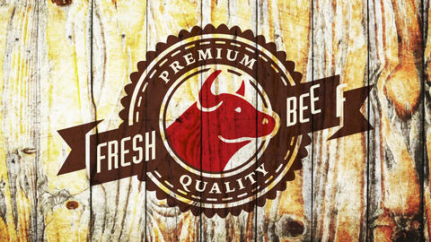 premium quality fresh beef butcher deli concept with bull head over piece of wood background Animation