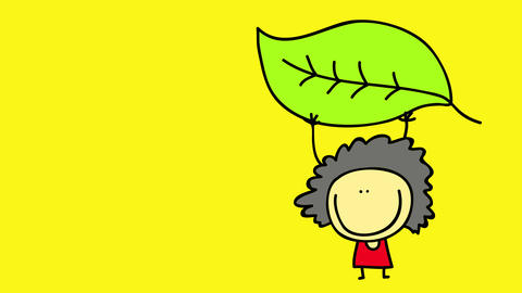 happy girl coming to right side of screen in parts moving with a big green leaf lifting it like a Animation