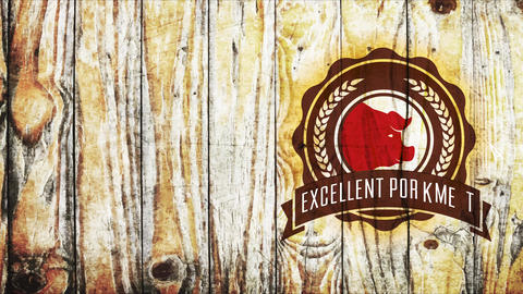 excellent meat meat label with grain branches and swine head on wood background for butcher store Animation