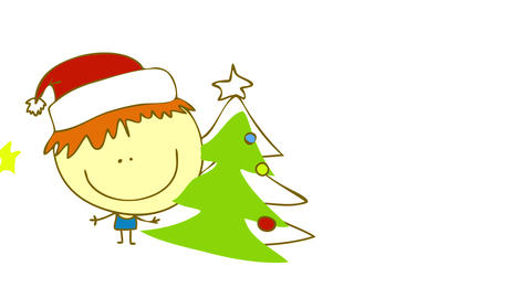 christmas time for little happy boy waiting for his presents by the tree with a cute star on top and Animation