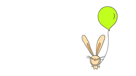 adorable bunny holding a green fluorescent balloon with a long thread connected to one paw perfect Animation