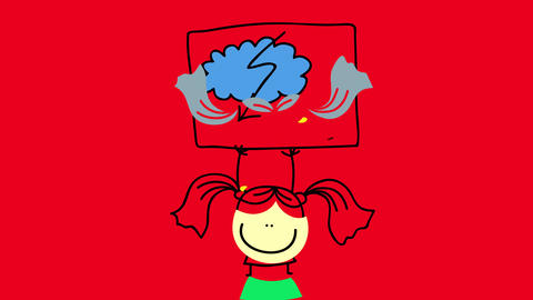 little girl lifting up a negative weather forecast sign with a blue cloud slashed by an arrow in zig Animation