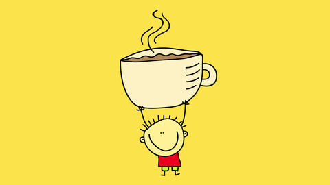 smiling young boy wearing red shorts and white shirt holding a big mug of hot chocolate over his Animation