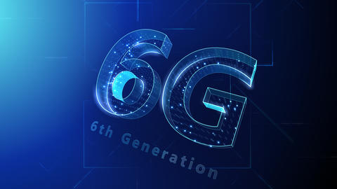 6G Digital Network technology 6th generation mobile communication concept Background 1 N1 blue 4k Animation