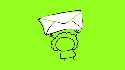 fat funny looking girl wearing red dress holding a big envelope above her with a big smile Animation