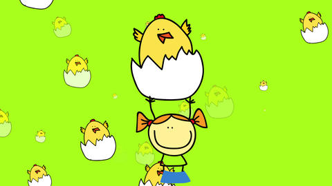 baby chicks coming out of their eggshells appearing and disappearing in the background while a Animation