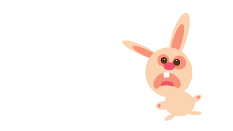pink rabbit taken by surprise with an expression of confusion and fear and its body in an bizarre Animation