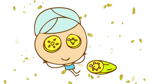man resting with his arms behind his head wearing blue towels on his head and body with cucumbers Animation
