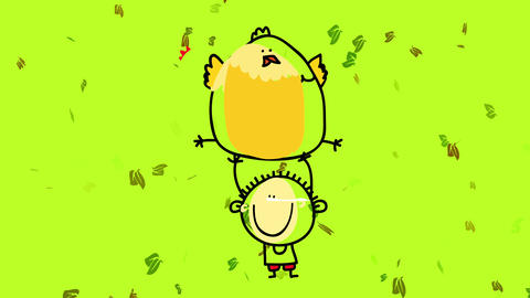 joyfull strong kid playing with his fat pet chicken outside on a windy day with green leafs floating Animation