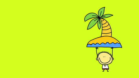 all the colors from a sketch of a little boy with big smile holding up a palm tree coming out of an Animation