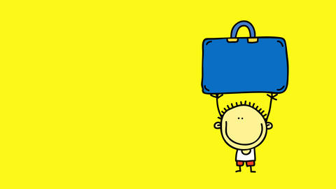 little boy with funny hair and clothes lifting a big suitcase above his head as a rebellious act Animation