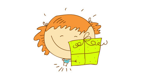 girl with a big smile on her face hugging a green gift box she her parents gave her as a birthday Animation