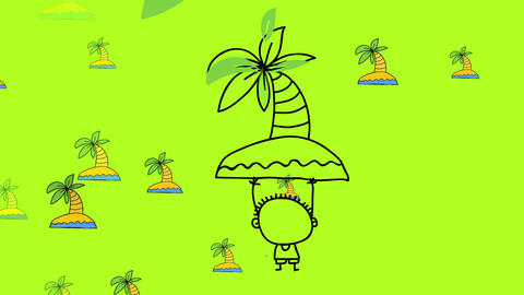 kid wearing summer clothes on a dream like place with palm trees on lost paradise islands floating Animation