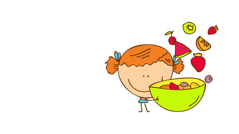 girl wearing blue dress combined with the ribbons in her hair playing with a colorful fruit salad Animation