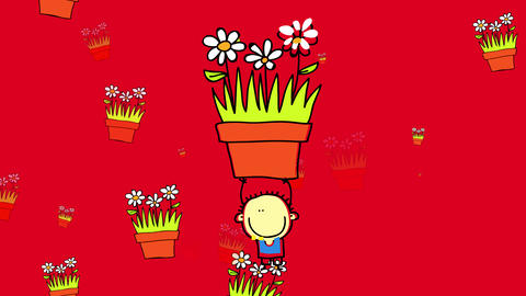 happy little boy standing in middle of frame lifting up flower pot with daisies over his head while Animation