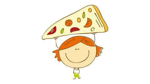 cute young girl with ponytails wearing green dress lifting up an appetizing pizza slice above her Animation