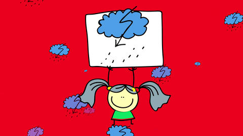 hand drawn girl raising a sign giving a bad news about the weather on a stormy background full of Animation