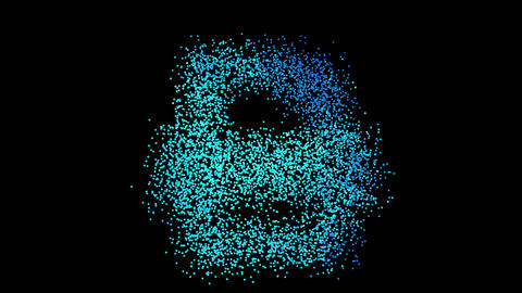 The symbol print is assembled from small balls. Then it shimmers with blue. It crumbles and Animation