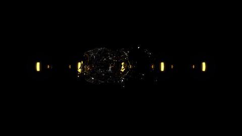 4k Water orb envelops golden spheres Animation