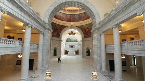 Father son walk Utah State Capital rotunda HD 4797 Footage