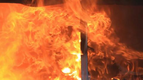 Fire in house intense slow P HD 7907 Footage