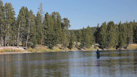 Fisherman Yellowstone River P HD 2665 Footage