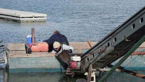 Fishermen empty boat commercial fishery fast HD 0813 Footage