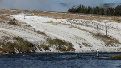 Fishing in Yellowstone geysers P HD 2943 Footage