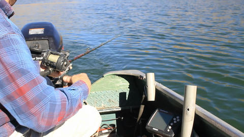 Fishing trolling from small boat P HD 7997 Footage