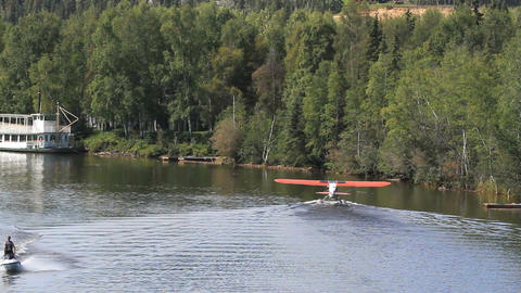 Float plane and jet skis River P HD 1479 Footage